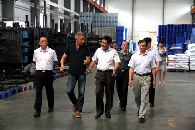 省商务厅副厅长王洪平同志视察山东华都托盘制造有限公司现场